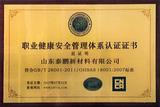健康安全管理体系认证证书